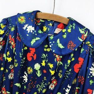 Vintage Retro 70s Blue Botanic Floral A Line Dress